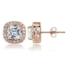 Rose Gold Tone over 925 Silver Cubic Zirconia Cushion Cut Halo Stud Earrings