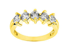 1.00ctw Diamond Wedding Ring 14k Yellow Gold Round Brilliant Cut I SI2 Prong Set