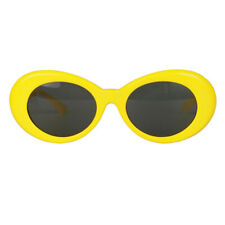 Retro Style Yellow Oval Sunglasses Thick Frame Clout Goggles Shades for Women