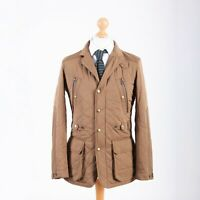 Ralph Lauren Polo Men's Beige Quilted Jacket Size M Blazer Zip Snap Nylon Trim