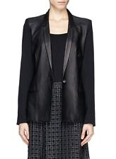 HELMUT LANG Size Small S INK LEATHER WOOL COMBO BLAZER in black