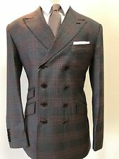 Grey/Brown Plaid 8 Button Super 150 Cerruti Military Style Wool Suit- Italy