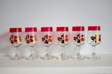 6 Vintage Mid Century Strawberry and Gold Liqueur / Sherry Glasses  kitsch