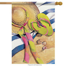 "Beach Blanket Summer House Flag Shells Nautical Sandals Sand 28"" x 40"""