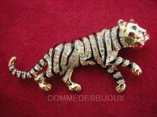 "Broche ""Tigre"" N° 1 cristal Blanc Afrique Savane Safari - Bijoux pur Bestaire"