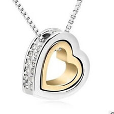 Womens Heart Crystal Charm Pendant Chain Necklace Silver Plated Jewelry