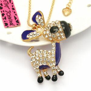 Lovely Purple Enamel Crystal Donkey Pendant Betsey Johnson Chain Lady Necklace