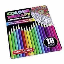 Intense Colour 18pc Quality Adult Colouring Book Pencils in Case Art Therapy Set