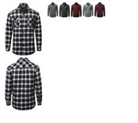 FashionOutfit Men's Casual Plaid Flannel quilted Button Jacket