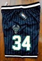 Milwaukee Bucks NBA Giannis Antetokounmpo Striped Basketball Shorts Large New