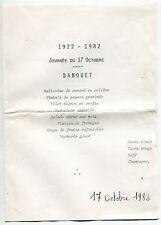 MENU BANQUET 1922 - 1982