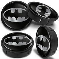 4 x 60mm - 56mm Universal Car Black Bat Rims Alloy Wheel Center Hub Centre Caps