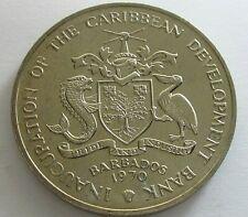 Barbados Copper Nickel 4 Dollars 1970,KM 9