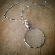 Works Brass Pendant & Chain Silver Monocle Magnifying Glass Necklace Really