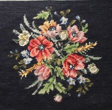 Vtg Poppy Floral Bouquet Needlepoint Completed Finished Seat Black Background