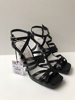 ZARA BLACK LEATHER HIGH HEEL SANDALS WITH WHITE CONTRASTING HEEL SIZE 5 RRP£80