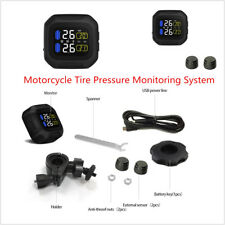 Wireless Motorcycle Tire Tyre Pressure Monitoring System LCD Dispaly USB Powered