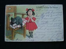 LITTLE GIRL WITH WOUNDED CAT ~ A LITTLE WORSE FOR WEAR ~ ANTIQUE POSTCARD