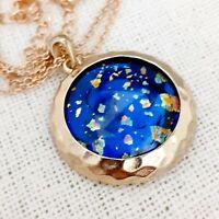 WOW Large Statement Vintage 1950s CZECH BLUE Glass Fire Opal Gold Pendant