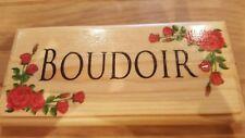 Wooden BOUDOIR sign - Red Rose Flowers