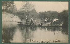 FIUME TICINO. Splendido primo piano di barche e persone. Viaggiata 1925.