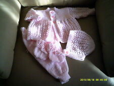 GIRLS PINK PANT,JACKET, BONNET AND BOOTEE SET