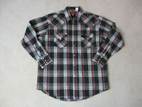 Ely Plains Pearl Snap Shirt Adult Large Gray Black Plaid Western Cowboy Rodeo