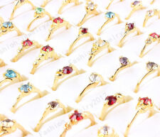 Wholesale Lots Mixed Resale 100Pcs Colourful Crystal Gold P Women Men Rings FREE