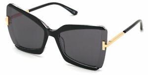 Tom Ford FT 0766 Gia 03A Black W. Endura Gold/Gray Sunglasses