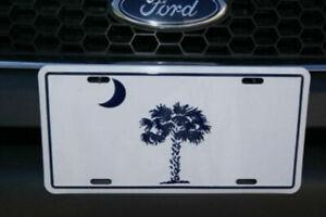 "South Carolina SC White & Blue 6""x12"" Aluminum License Plate Sign"