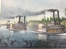 A Race on the Mississippi CURRIER & IVES VINTAGE Calendar Print 23819