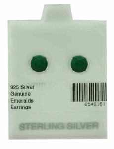 GENUINE 2.36 Cts EMERALDS STUD EARRINGS  .925 Sterling Silver ** NEW WITH TAG **