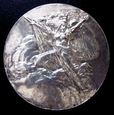 FRANCE MARIANNE STANDING ON THE CLOUDS / STERLING SILVER MEDAL BY R.BENARD / M28