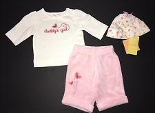 NWOT Gymboree Baby Butterfly Up to 7 lbs Daddy's Girl Top Peach Pants & NWT Hat
