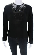 Lanvin  Womens Long Sleeve Top Black Lace Trim Size Small