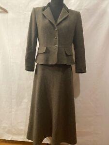 LAURA ASHLEY Vintage Green Wool  1960's WW2 Skirt Suit Jacket 12/14