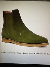 Pre-Owned coach Mens Chelsea BOOT SUEDE OLIVE FG2380 SZ 10.5