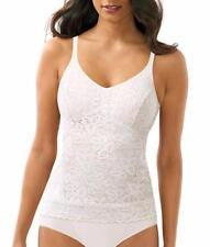 Bali Lace N' Smooth Firm Control Camisole Top 8L12, White, 2 XL XXL, FREE S&H