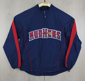 Toledo Mud Hens Blue Baseball Jacket Windbreaker Pull Over 1/4 Zip Cage Medium M
