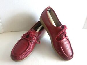 SAS Comfort Hand Sewn Siesta Womens 8 Shoes Burgundy Red Leather Moc Toe Oxfords