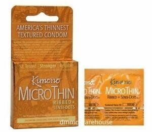 MicroThin Ribbed Sensi Dots Latex Condoms Kimono Japan 3 Pack Retail Box