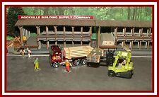 Hot Wheels: Ho Scale _ Maroon Flat Bed Truck with Lumber & Sheet Metal Load