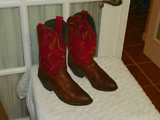 Women's Red & Brown Leather Cowboy Cowgirl Boots Cute size 6 B made in Mexico
