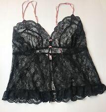 VICTORIA'S SECRET Lingerie Lace Babydoll Unlined Lace In Black XS