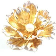 White/Gold/Red/Blue Peony Flower Freshwater Cultured Pearl Brooch 9.5-10.0mm