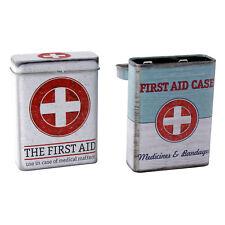 2 x Erstehilfe Box Verbandskasten Pflasterbox Verbandszeug 9x7x2,8 cm Metalldose