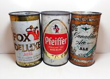 Lot of (3) Flat Top Beer Cans Canadian Ace Ale Fox DeLuxe Pfeiffer