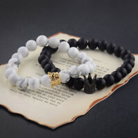 King Queen Crown Bracelets His And Her 8mm Beads Friendship Love Couple Bracelet