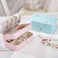 Dual Layer Travel Jewelry Organizer Leather Jewellery Ornaments Case Storage Box