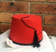 Adult Red Fez Hat with Tassel Dr Who Aladdin Moroccan Turkish Fancy Dress Party